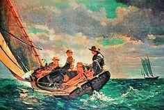 Winslow Homer Breezing Up And Maxfield Parrish Twilight 1944 Original Lithograph Print Error