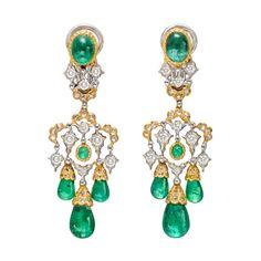 BUCCELLATI Emerald Drop Chandelier Earrings | 1stdibs.com