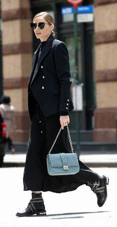 ♥️ Pinterest: DEBORAHPRAHA ♥️ Olivia Palermo street style all black outfit