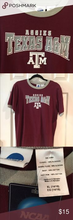 NWT Texas A&M short sleeve ringer Tshirt This is brand new NCAA Texas Aggie ringer Tshirt. It would also fit unisex adult small. Texas A&M Shirts & Tops Tees - Short Sleeve