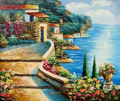Amalfi Coast - Hand Painted Oil on Canvas