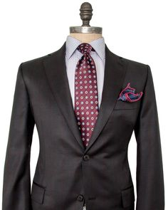 Image of Belvest Charcoal and Burgundy Plaid Suit-Used