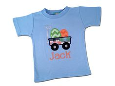 Boy's Easter Shirt - Easter Egg Wagon with Embroidered Name by SunbeamRoad on Etsy