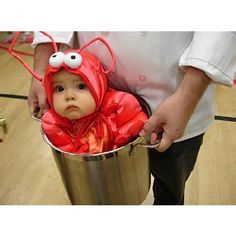 "First Halloween costume--also known as ""One of the many reasons my child will probably need therapy""."