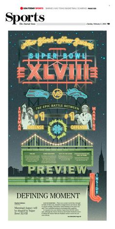 Super Bowl Cover, The Journal News, with illustration by Eddie Alvarez and branding by Jose Soto