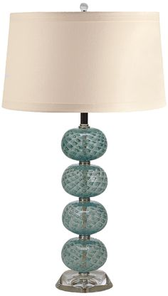 Aqua Hand-Blown Glass Ball Table Lamp -