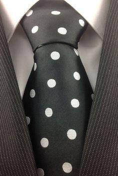 Black with White Polka Dot tie Sharp Dressed Man, Well Dressed Men, Dots Fashion, Polka Dot Tie, Look Man, Black N White, Men Dress, Tartan, Menswear
