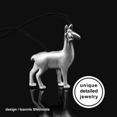 Llama Necklace Pendant - A micro-sculpture in a jewel. Unique solid sterling silver llama pendant, in matte finishing with glossy details to highlight the design. The perfect gift for llama Lover! This jewelry have a wonderful detailing and flawless 3D craftsmanship with my unique repousse technique. Comes in an elegant black velvet pouchready for gift giving. Handmade in Greece. #llamanecklace #animalllama #animaljewelry #llama