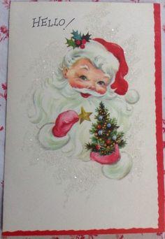 Pin by mako chan on walmart xmas pinterest xmas and walmart vintage 1950s unused glittered christmas greeting card santa claus xmas tree m4hsunfo