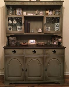 Painted Welsh Dresser Annie Sloan chateau grey and dark wax