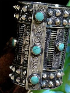 Afghan Khost Long Cuff Bracelet with Persian Turquoise Stones