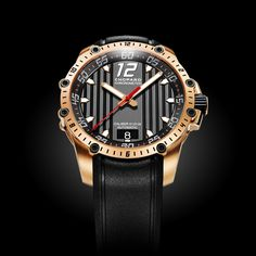 Chopard Superfast Automatic: Forceful elegance - contemporary design with a luxurious finish. rose gold case, chronometer certified movement and power reserve. Fine Watches, Cool Watches, Watches For Men, Luxury Watches, Rolex Watches, Steampunk Mask, Chopard, Or Rose, Rose Gold