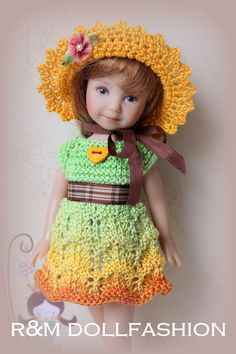 R&M DOLLFASHION FALL LINE handknit set for EFFNER HEARTSTRING RILEY KISH 8  doll