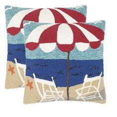 Safavieh 2-piece Beach Chair Outdoor Throw Pillow Set, Blue