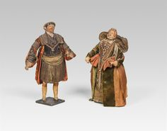 """Apassionate bidding war took place over two dolls from the 17th – 18th century representing """"Henry VIII"""" and """"Elizabeth I."""" This led to a record price of 268.800 € including buyer's premium (Hammer Price 210.000 €) right at the beginning of the auction thanks to an English bidder. The king and his daughter are thus returning to their home country. Elizabeth I, Princess Margaret, Henry Viii, Puppets, 18th Century, Auction, Daughter, English, War"""