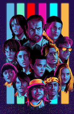 This is a fan art featuring characters from streaming giant Netflix's popular series Stranger Things. It contains the collage of all the main characters, and even more fan arts and memes or references about this series can be found on internet.