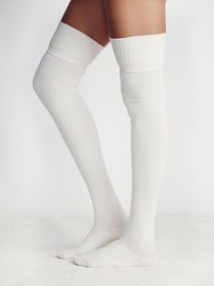 Silver Lake Thigh High Sock   Classic knit thigh highs with ribbed trims. Perfect with tall boots or a mini.