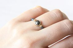 Charcoal Diamond Ring in Gold and Silver | Handmade Jewelry by TorchFire Studio