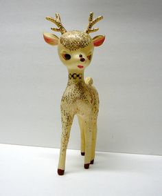 1950s Vintage Christmas Decoration Deer Glitter Rudolph Reindeer Woodland Animal