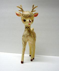 1950s Vintage Christmas Decoration Deer Glitter Rudolph Reindeer Woodland Animal