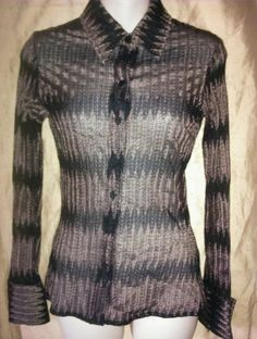 BEBE MODA Black & Gold Geometric Print Blouse Long Sleeves Sz. M Nylon/Rayon in Clothing, Shoes & Accessories | eBay