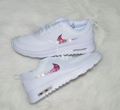 Nike Air Max Thea White with Gradient White/Pink SWAROVSKI® Xirius Rose-Cut Crystals.