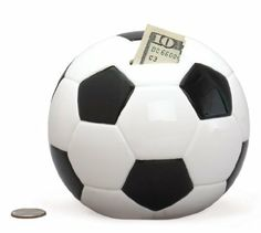 Soccer Ball Sports Themed Ceramic Kids Piggy Bank Bedroom Decor