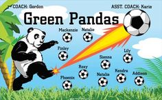 Green Pandas B54744  digitally printed vinyl soccer sports team banner. Made in the USA and shipped fast by BannersUSA.  You can easily create a similar banner using our Live Designer where you can manipulate ALL of the elements of ANY template.  You can change colors, add/change/remove text and graphics and resize the elements of your design, making it completely your own creation.
