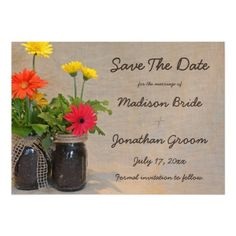 Mason Jar Daisy Country Wedding Save The Date Magnetic Card