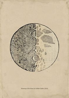 Astronomy Print Drawing of the Moon by Galileo Galilei