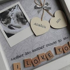 Another day, another excuse to say I LOVE YOU This handmade personalised scrabble art frame would make the perfect gift for your loved one. A beautiful keepsake to celebrate valentines, anniversarys, birthdays or just because! Made using scrabble letters and painted wooden hearts that #anniversarygifts