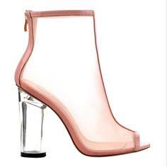 Benny Peep Toe Transparent Heel Bootie, see more