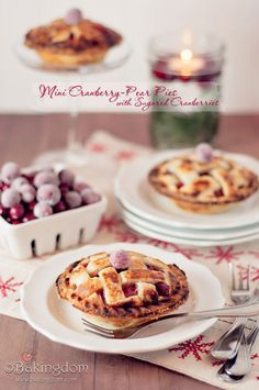 Mini Cranberry Pear Pies with Sugared Cranberries