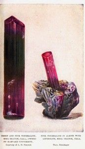 Vintage gems and minerals; educational plate