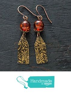 Antique Copper Vintage Tin Earrings with Faux Amber Beads from Musing Tree Studios https://www.amazon.com/dp/B01HVX2RLS/ref=hnd_sw_r_pi_dp_yTNFxbJZV7Y0A #handmadeatamazon