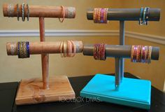 Easy DIY Woodworking project.  Make this bracelet / Jewelry holder to display all of your pretty bangles.
