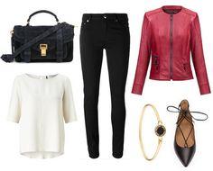 navy blue handbag, black trousers, red leather jacket - Nikita - Verssen, white blouse, gold bracelet, shoes with binding