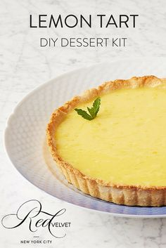 This Lemon Tart will never go out of style! We use real lemons to make a luscious and thick lemon curd that perfectly complements a buttery shortbread crust. It'll be a major hit at your next party! Order a DIY Lemon Tart kit today at redvelvetnyc.com.