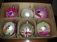 Box of Vintage Hand Decorated Glass Christmas Ornaments