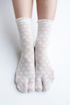 Women New Hezwagarcia Must Have Japan Edition High Quality Basic Tabby Split Toe Socks White