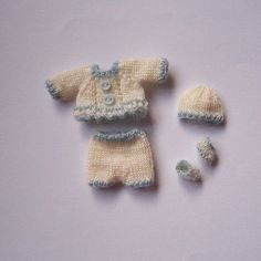 Handmade knitted outfit for Heidi Ott baby doll 1 ¾ (4,5 cm) #RB253