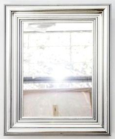 Espejo con marco blanco antiguo espejos marcos para - Espejos con marco plateado ...
