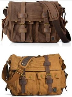 This Old schoolstyle canvas messenger bag for men and women 2 colors (Coffe and Brown). * Canvas Bags with Genuine Leather straps. *Dual leather straps with adjustment buckles, antique finish