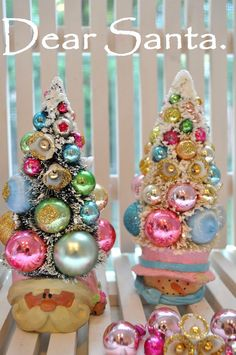 pink santa christmas tree bottle brush