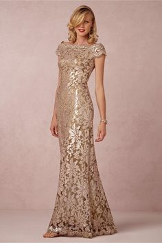 Odette Dress Gold Lace Mother of the Bride Dress with Cap Sleeves