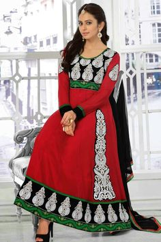 Red Faux Georgette Party Wear Anarkali Suit☆☆ fabricmode.com