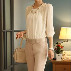 4454d3f6555 2016 New women office lady Fashion Elegant white Lace Embroidered long  sleeve chiffon blouse Tops shirt-in Blouses   Shirts from Women s Clothing  ...