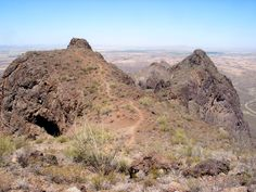 Trail near the top of Picacho Peak in Arizona; a volcanic summit rising 1500 feet above the Sonoran Desert plains, at the center of a small state park that also contains a popular campground