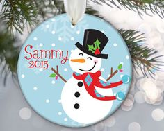 Personalized Snowman Christmas Ornament Christmas Gift Christmas Keepsake Snowman Ornament Custom Ornament Custom Snowman Holiday Gift OR239 by LilStinkerDesign on Etsy https://www.etsy.com/listing/208442551/personalized-snowman-christmas-ornament
