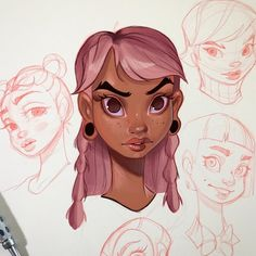 Girl with the pink hair . Coloring in random sketchbook doodles. Happy Sunday, everyone 😎. Cartoon Girl Drawing, Cartoon Drawings, Drawing Sketches, Art Drawings, Character Drawing, Character Illustration, Illustration Art, Girl With Pink Hair, Character Design Inspiration